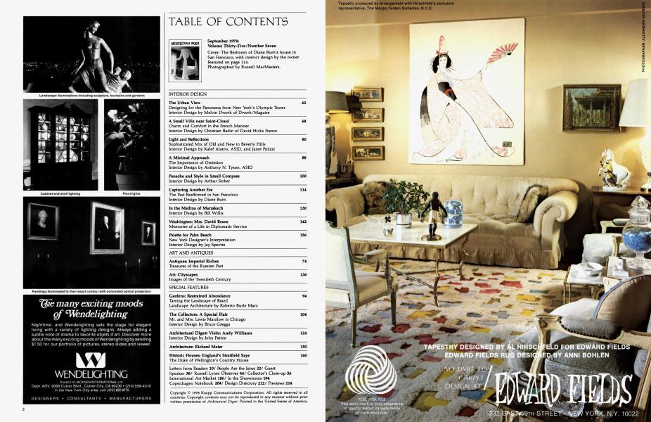 Table Of Contents Architectural Digest September 1978