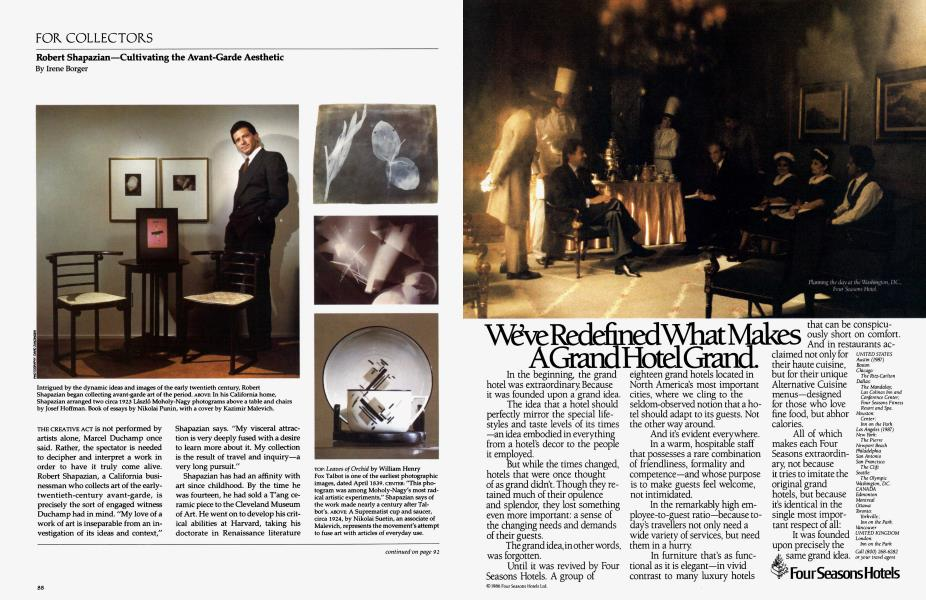 For Collectors | Architectural Digest | MAY 1986