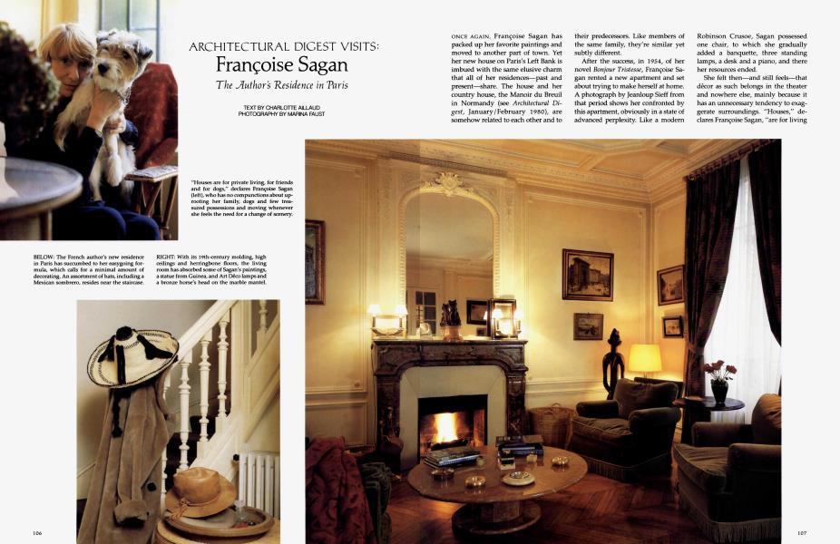 Françoise Sagan | Architectural Digest | AUGUST 1991
