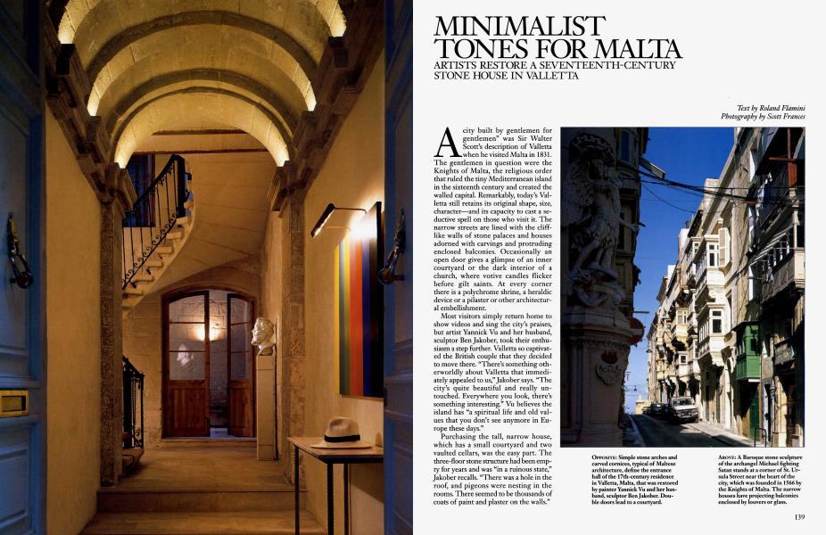 MINIMALIST TONES FOR MALTA | Architectural Digest | JANUARY 1999